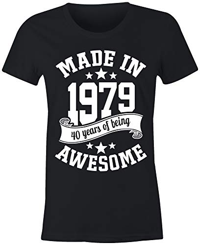 - 6TN Ladies Made in 1979 40 Years of Being Awesome 40th Birthday T Shirt (Large, Black)