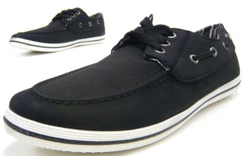 Schuh-City Elegante Herren Schuhe Sneaker Schürer Leder-Imitat Schuhe Schwarz