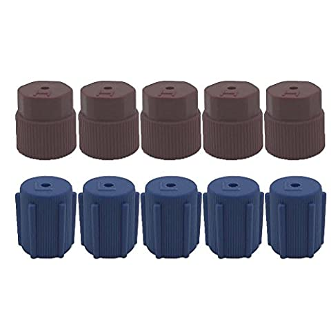 ZYTC Air Conditioning Service System AC Charging Port Caps R134a 13mm & 16mm High Low Side Caps,5 High Red Caps 5 Low Blue - Air Conditioning Service Valves
