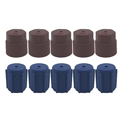 Low Side Service Port Cap (ZYTC Air Conditioning Service System AC Charging Port Caps R134a 13mm & 16mm High Low Side Caps,5 High Red Caps 5 Low Blue Caps)