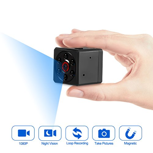Mini Camera, Spy Camera, Magnetic Sports HD DV Camera 1080P Video Camera with IR Night Vision & Motion Detection, Small Surveillance Camera for Home Office & - Square Camera Mini Security