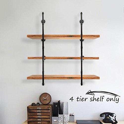 KINGSO Industrial Pipe Bookshelf Wall Mount For Home Or Office Organizer Storage Shelving Bookshelf 4 Tier