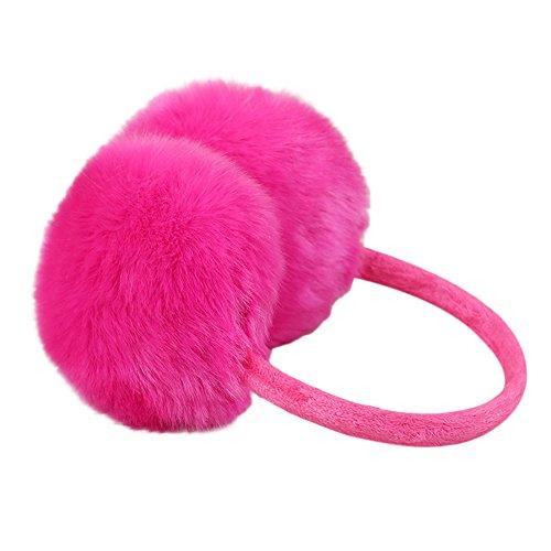 Women Cute Faux Furry Plush Solid Color Warm Earmuffs Imitation Rabbit Fur Winter Outdoors Muffs