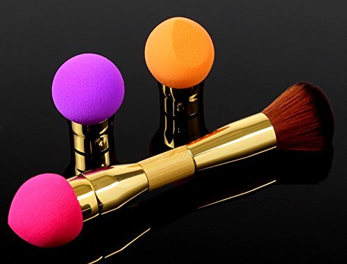 4-in-1 Detachable Makeup Blending Sponge and Brush Kit with Set of 3 Sponges, Non-Latex, Soft But Extra Dense, Conserves Makeup, Washable, Your Base Looks Amazing