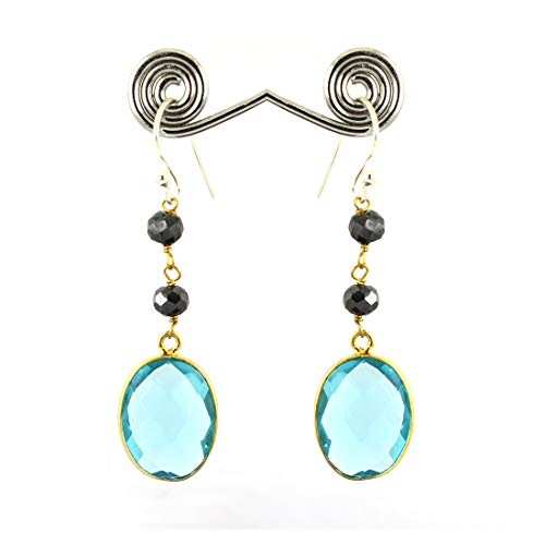 skyjewels Blue Quartz Gemstone with Black Diamond Beads Fancy Silver Earrings ()