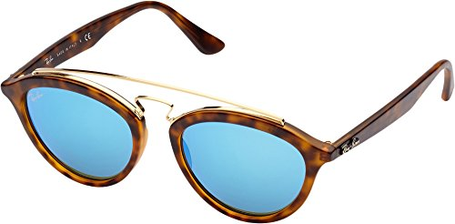 Ray-Ban INJECTED WOMAN SUNGLASS - MATTE HAVANA Frame LIGHT GREEN MIRROR BLUE Lenses 50mm - Sunglasses 6pm