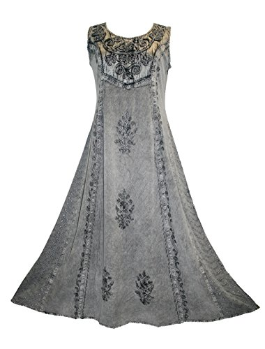 Agan Traders 1004 DR Gothic Vintage Sleeveless Embroidered Casual Chic Twirl Sun Dress Gown