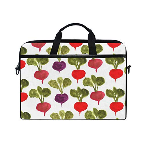 Colorful Watercolor Radish 14 15inch Laptop Case Laptop Shoulder Bag Notebook Sleeve Handbag Computer Tablet Briefcase Carrying Case Cover With Shoulder Strap Handle for Men Women Travel/Business/Scho