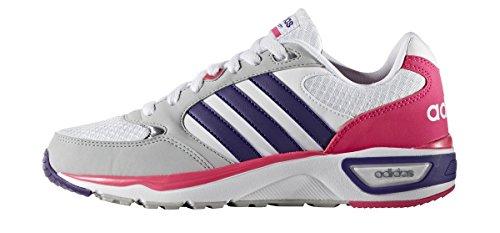 adidas Cloudfoam 8Tis W, Chaussures de Running Compétition Femme Blanc (blanc Footwear / violet collégial (collegiate purple) / rose shocking)