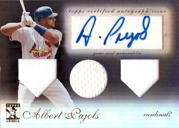(2009 Topps Tribute Triple Relics Black #TTAR-AP Albert Pujols Certified Autograph Game Worn Jersey Baseball Card - Only 50 made! )