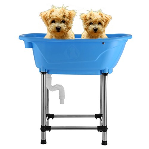 Mophorn Dog Tub 37x19Inch Dog Bathing Tub Washing Shower Pet Grooming Bath Tub Indoor Outdoor Home Puppy Sink Wash (Blue)