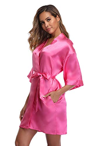 iFigure Women's Short Kimono Robe Dressing Gown Silky Bridesmaid Robes Bathrobe, Hot Pink, L
