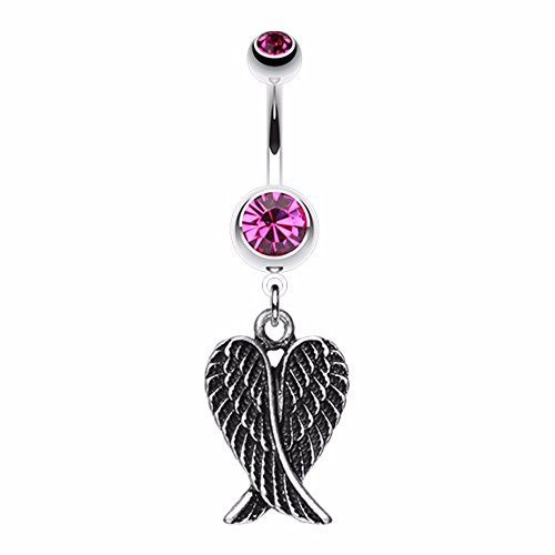 Angel Wing Heart WildKlass Belly Button Ring