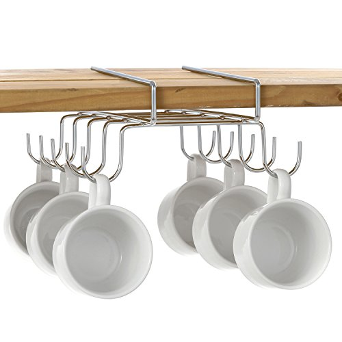 10 Hook Under-the-Shelf Mug Rack, Metal Espresso Cup Storage Holder & Drying Rack, Silver