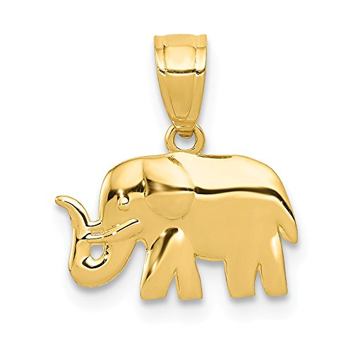 - 14k Yellow Gold Elephant Pendant Charm Necklace Animal Fine Jewelry Gifts For Women For Her