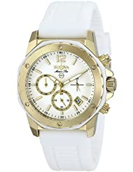 Bulova Womens 98M117 Gold-Tone Stainless Steel Watch with White Rubber Strap