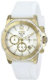 Bulova Women's 98M117 Gold-Tone Stainless Steel Watch with White Rubber Strap