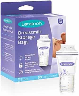 Lansinoh Breastmilk Storage Bags, 50 Count (1 Pack of 50 Bags), Milk Freezer Bags for Long Term Breastfeeding Storage, Pump Directly into Bags, Nursing Essentials