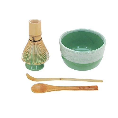 - BambooMN Brand - Matcha Bowl Set (Includes Bowl, Rest,Tea Whisk, Chasaku, Tea Spoon) 1 Set Mint Green