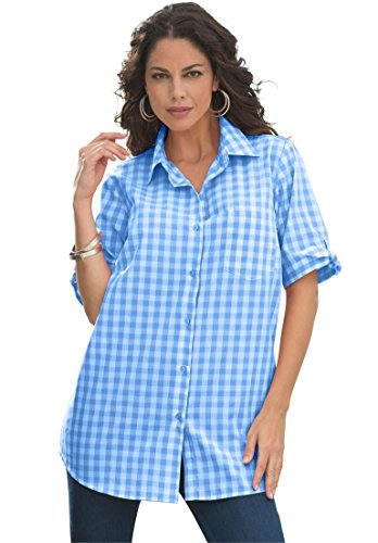 Roamans Women's Plus Size French Check Shirt Lapis Blue Check,24 W (Gingham Check Sleeve Shirt)