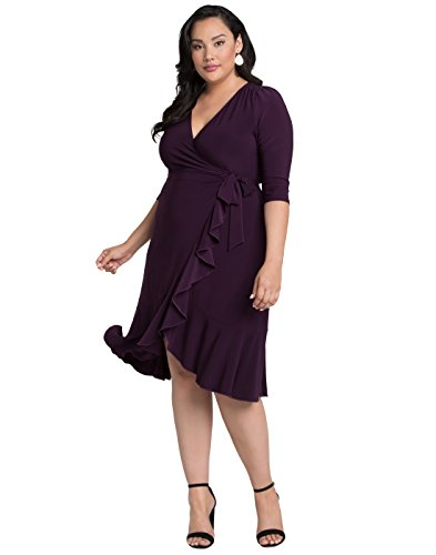 Kiyonna Women's Plus Size Whimsy Wrap Dress 2X Plum (Plum Cocktail)