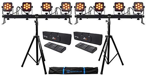 (2) Chauvet DJ 4Bar Flex T USB D-Fi Light Bars+Stands+Carry Cases+Foot Switches
