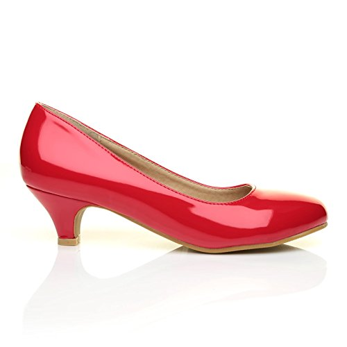 Charm Red Patent PU Leather Low Heel Round Toe Comfort Court Shoes