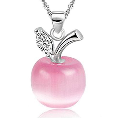 Diamond Apple Pendant - SWEETIE 8 Women's 18K White Gold Plated Silver Pendant Necklace