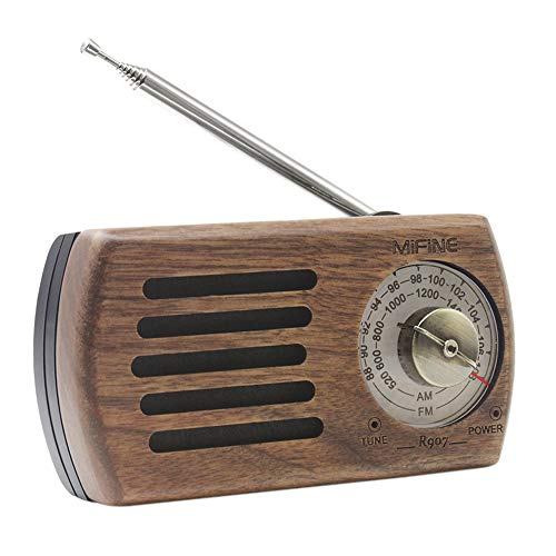 Portable Pocket AM FM Radio - Retro Walnut Wood Battery Operated Radio with Best Reception, Transistor Radio with 3.5mm Headphone Jack for Walking Jogging Gym Camping