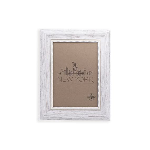 4x6 Picture Frame White/Gold - Mount/Desktop Display, Frames by EcoHome - Picture Frame ready to Mount on the wall or Easel back to display on desktop. Sturdy picture frame to decorate a wall, Vertically and Horizontally. Made of recycled PS and glass. No trees were cut producing our frames!! - picture-frames, bedroom-decor, bedroom - 41FbqDxFrPL. SS570  -
