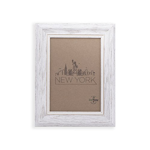 8x10 Picture Frame White/Gold - Mount/Desktop Display, Frames by - White Distressed Picture Frame