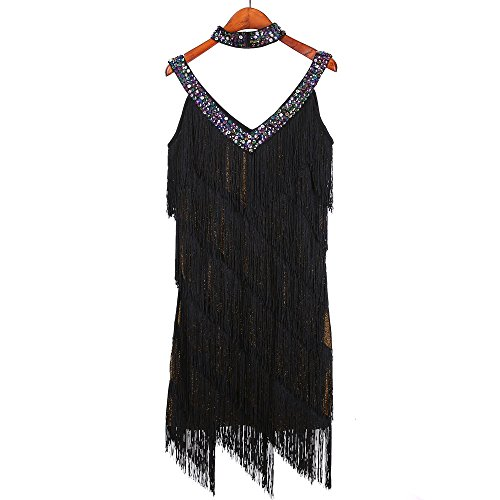 Samba Costumes For Sale (Vintage Sparkling V-Neck Tango Sala Clubwear Two Pieces Women's Ballroom Fringe Tassel Dance Latin Dress Competition Women (One Size, Gold))