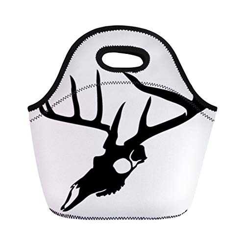 (Semtomn Lunch Bags Hunting White Deer Animal Skull Antler Single Stag Anatomy Neoprene Lunch Bag Lunchbox Tote Bag Portable Picnic Bag Cooler Bag)