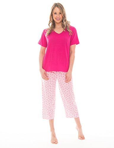 Pink Lady Women's V-Neck Tee and Capri 2 Piece Lightweight Pajama Set (Barley Pink Butterfly V Neck, XX-Large)