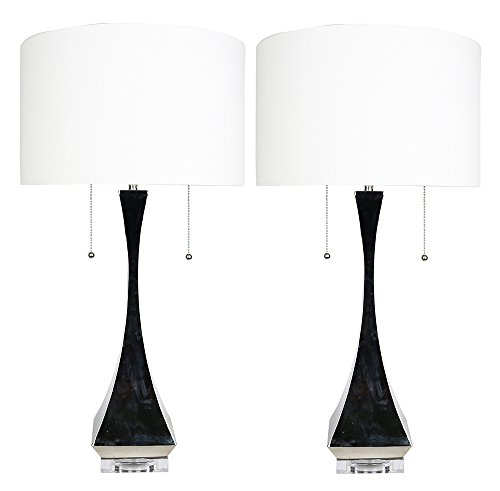 Black Polished Desk Lamp - Urbanest Set of 2 Messina Table Lamps, Polished Nickel, 28-inch Tall