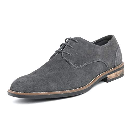(Bruno Marc Men's URBAN-08 Grey Suede Leather Lace Up Oxfords Shoes - 10 M US)