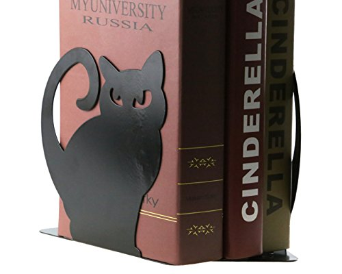 Cute Vivid Lovely Persian Cat Book Organizer Metal Bookends For Kids School Library Desk Study Home Office Decoration Gift (Black) by Apol (Image #5)