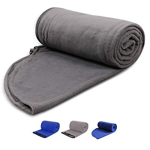 """REDCAMP Fleece Sleeping Bag Liner with Hood, Great for Adult Warm or Cold Weather, 87"""" Long Full Sized Zipper Camping Blanket for Outdoor, Grey"""