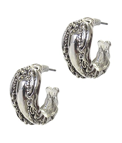 - O2 Vintage Antiqued Nouveau Look Spoon Ring Embossed Silver-Tone Hoop Earrings .75 Inch Diameter