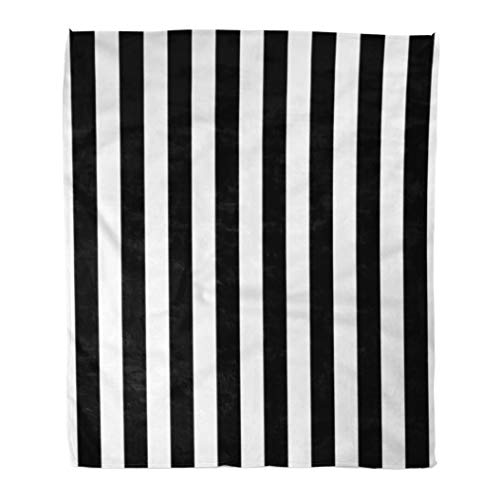 Golee Throw Blanket Minimal Awning Stripe Black and White Line Pattern Pinstripe Bengal 50x60 Inches Warm Fuzzy Soft Blanket for Bed Sofa - Awning Bedding Stripe
