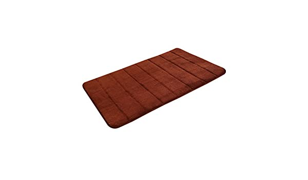 30 x 50 cm muy acogedora caf/é OUNONA Alfombra de ba/ño de espuma viscoel/ástica de terciopelo coral alfombra de ba/ño