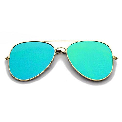 Bleu Générique Silver en Hommes LVZAIXI amp; tissu de Designer étui Uv400 soleil Lunettes Mirror Couleur Vert dames Shades Aviator TrTw4xq5