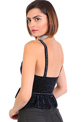 PILOT® brillo de terciopelo paso v cuello blusa entallada volante: Amazon.es: Ropa y accesorios