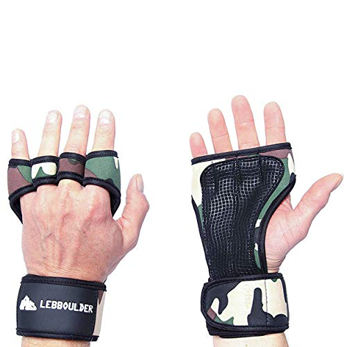 LEBBOULDER Cross Training Gloves with Wrist Support for WODs,Gym Workout,Weightlifting & Fitness-Silicone Padding, No Calluses-Suits Men & Women-Weight Lifting Gloves for a Strong Grip (Camo, -
