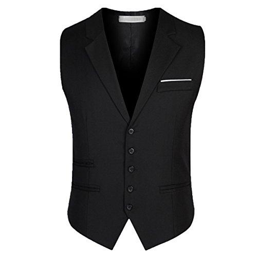 Earlish Men's Dress Vest Casual 5 Buttons Business Slim Fit V Neck Wedding Vest, Black, TagsizeXXXXXL=USsizeL (5 Button Vest)