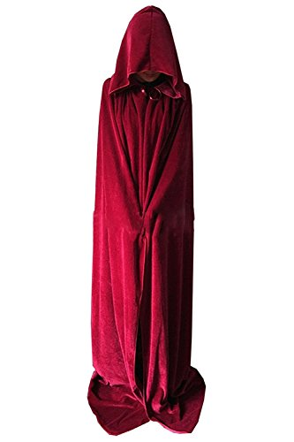 Wonderoy Unisex Full Length Halloween Costumes Hooded Cape Cloak Cosplay XL Burgundy Velvet
