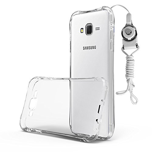 Cadorabo - TPU Ultra Slim Samsung Galaxy J7 (Model 2015) Slim Waist Silicone Cover with Sling - Gel Case Bumper Protection Skin in TRANSPARENT (Sling Gel)