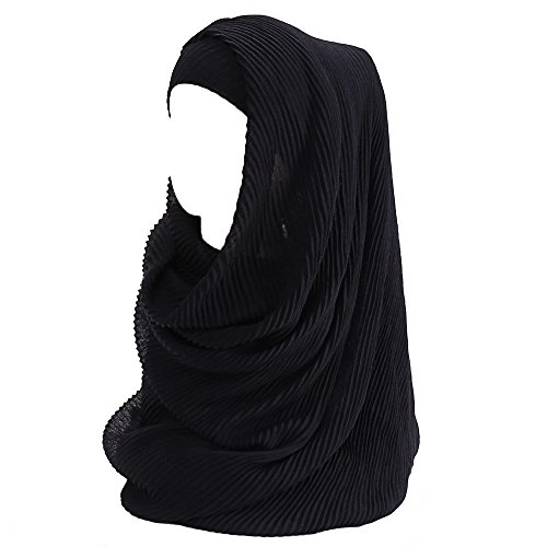 (Lina & Lily Women's Crinkle Hijab Scarf Shawl Head Wrap Lightweight (Black) )