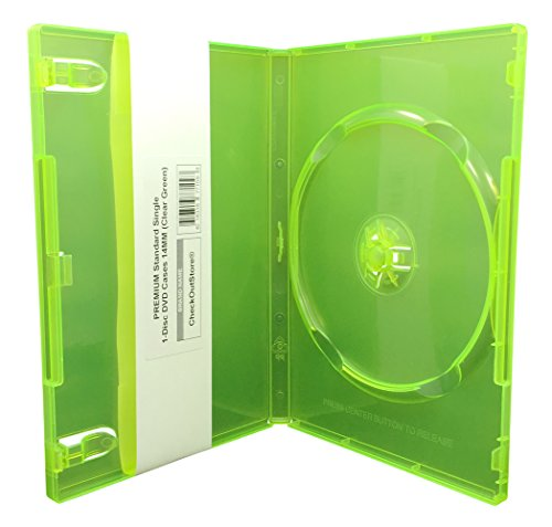 (CheckOutStore (10) Premium Standard Single 1-Disc DVD Cases 14mm (Clear Green))