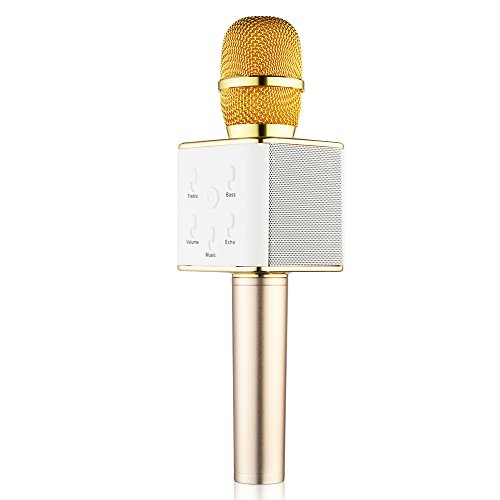 BONAOK Wireless Karaoke Microphone,3-in-1 Gold Microphone Portable Handheld Built in Bluetooth Speaker Machine for iPhone Apple Android PC and Smartphone (Karaoke Machine With Mic Stand)